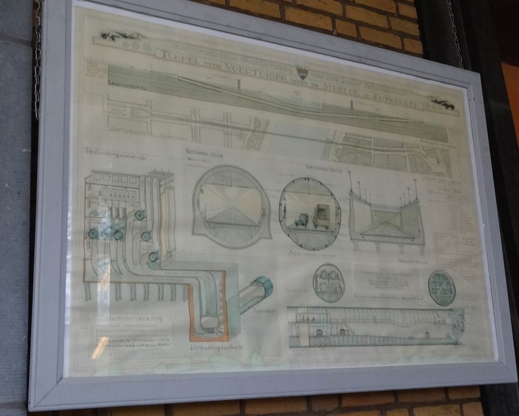 Original proposed designs for the tunnel are on display by the left bank entrance. This design illustrates the possibility of motor vehicles using the tunnel