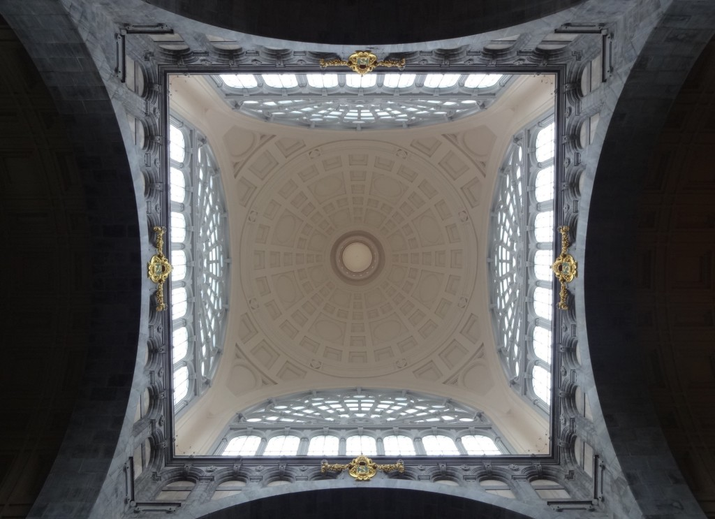 Looking up at the huge glass dome over the ticket hall