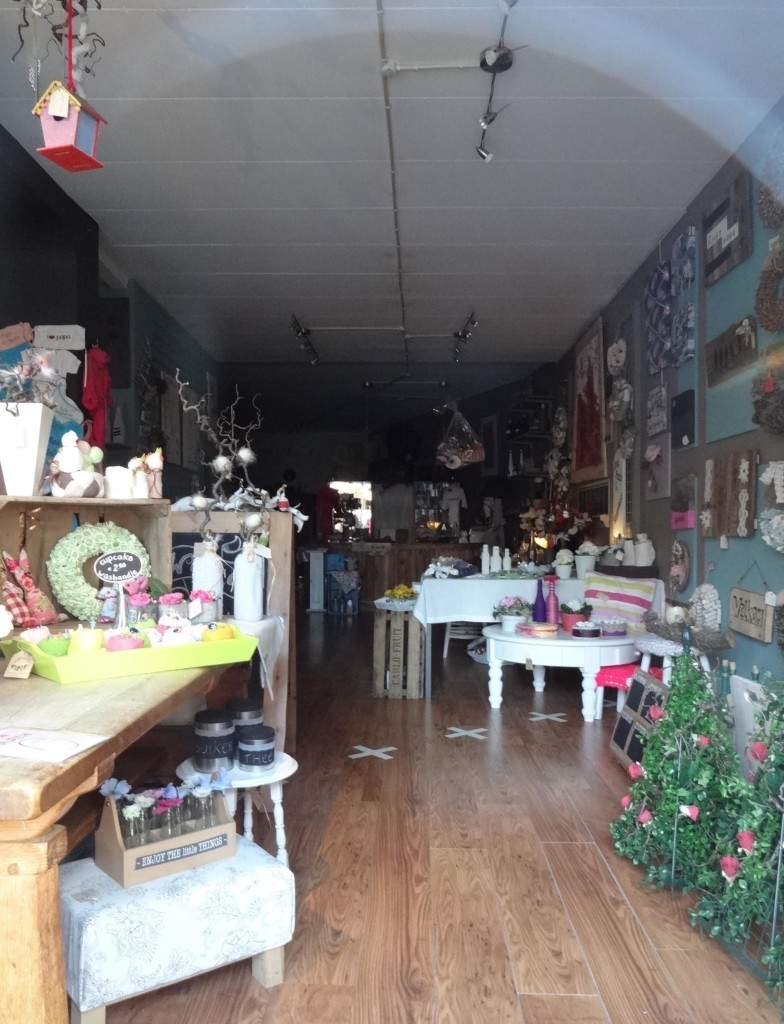 The gift shop owner has capitalised on her unique geographical position and marked the border out inside her shop to entice curious border enthusiasts like myself, in