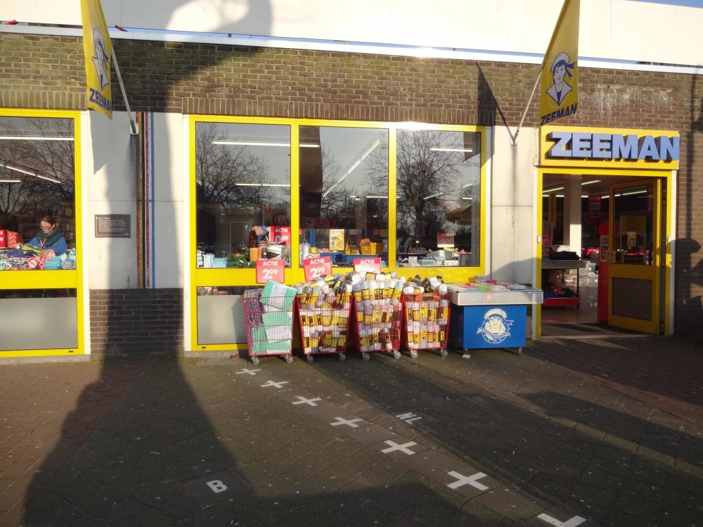 The main entrance to this branch of Zeeman's is on the Dutch side of this border and so this store is registered in the Netherlands