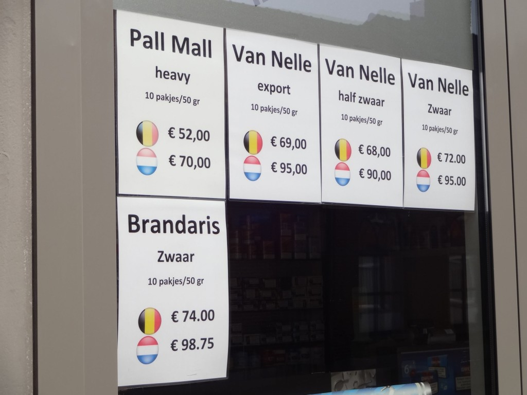 At these prices it's little wonder that Baarle Nassau residents venture in to Baarle Hertog for their tobacco