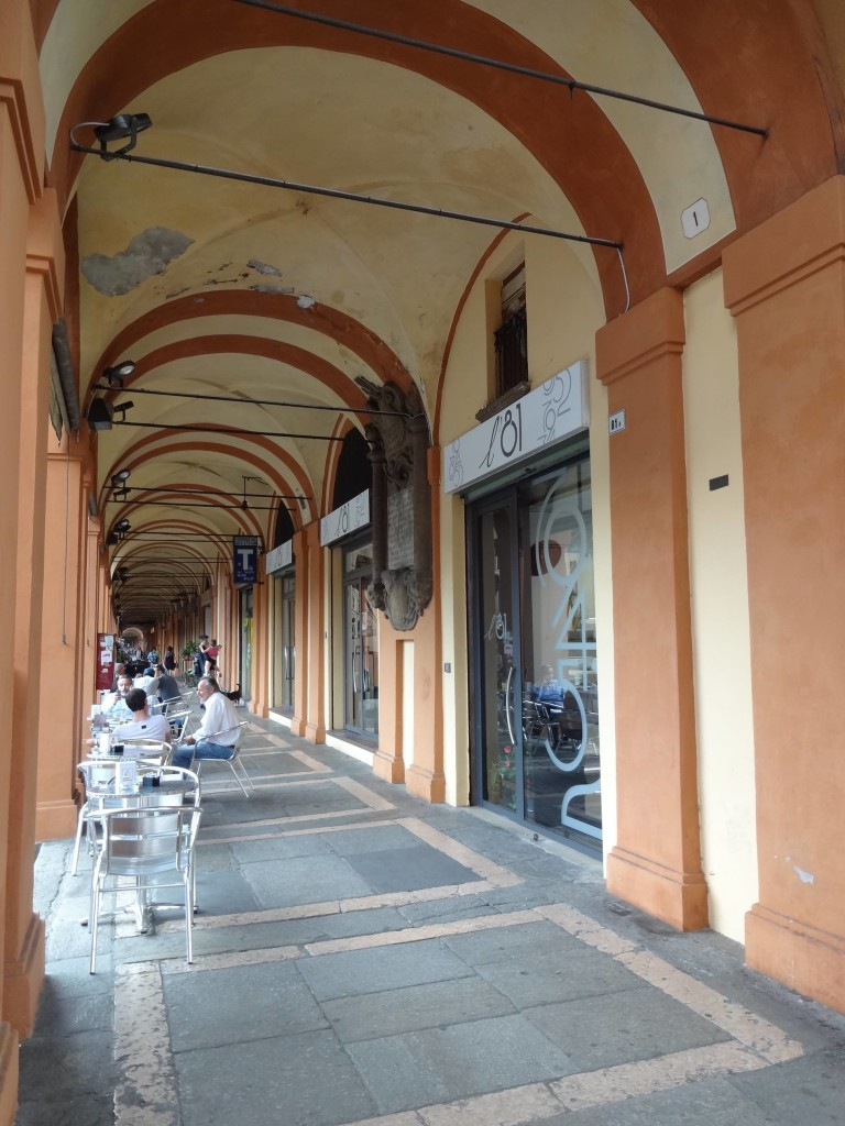 From the very first arch (numbered in the top right hand corner): the San Luca Portico doubles as a shopping arcade for the first kilometre