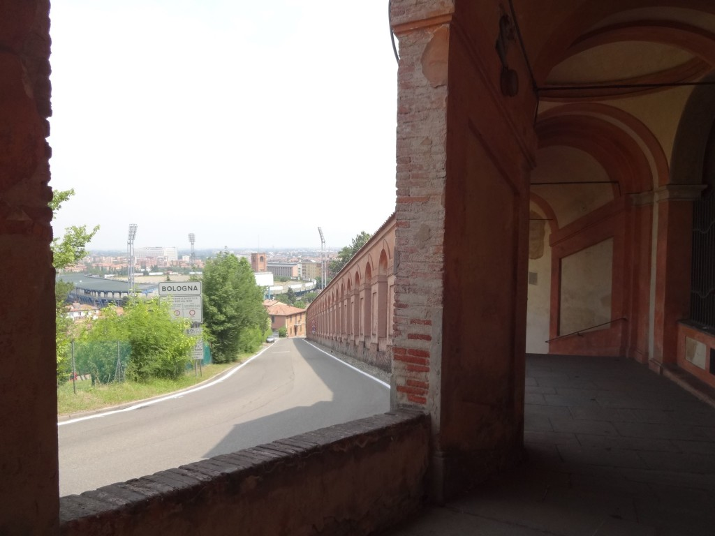 Catching sight of Bologna's sports stadium (left) and west Bologna below