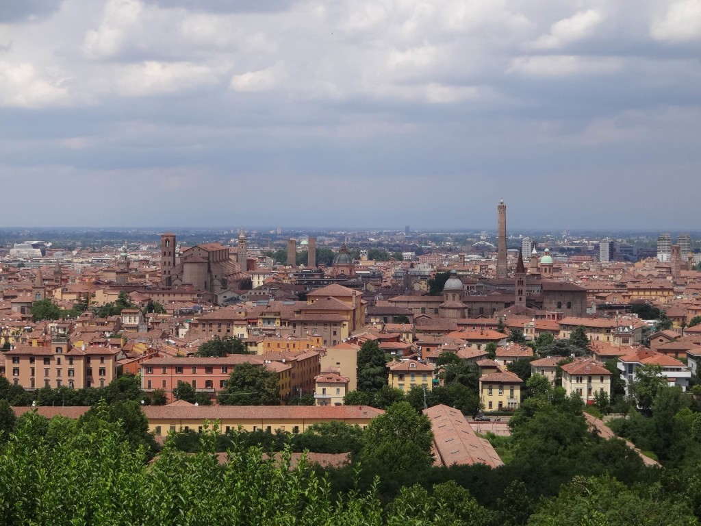 Bologna's old city below, seen from the church steps (and bus stop) of San Michele in Bosco. The Basilica of San Petronio is centre left, and the Torre degli Asinelli is centre right