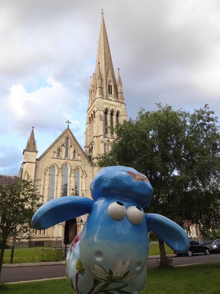 Bristol Shaun in the City, Brunel trail, Bloomin' Gorge-ous, Professor Alice Roberts, The Red Maids' School, Christchurch Green Clifton, face with church