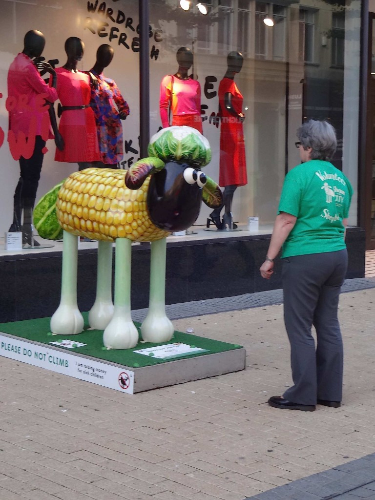 Shaun trying to outstare a Shaun in the City volunteer. My money's on the volunteer