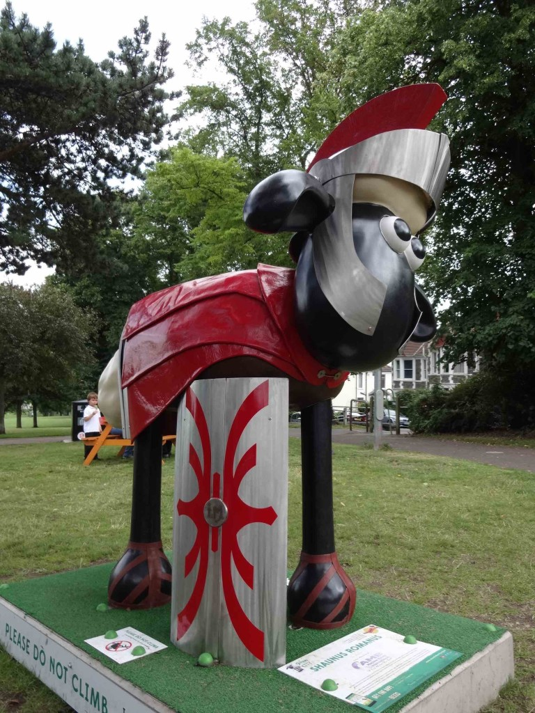 Bristol Shaun in the City, Southbank trail, Shaunus Romanus, Ian Marlow, CAMB Machine Knives, Victoria Park Somerset Terrace entrance, side