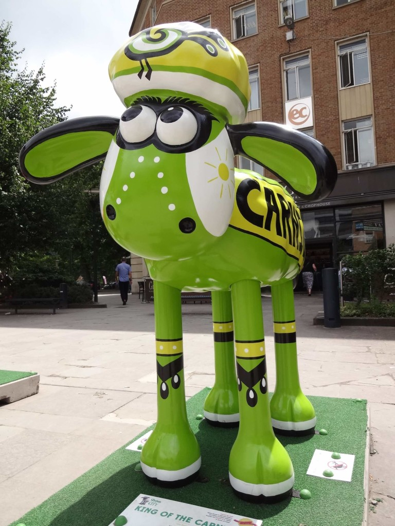Bristol Shaun in the City, Temple trail, King of the Carnival, Lou Boyce, EY, Queen Square, above