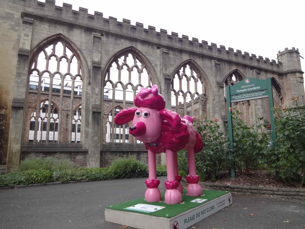 Bristol Shaun in the City, Temple trail, Sheepish, Wayne Hemingway, Unite Students, Temple Church Gardens Church Lane, side with church