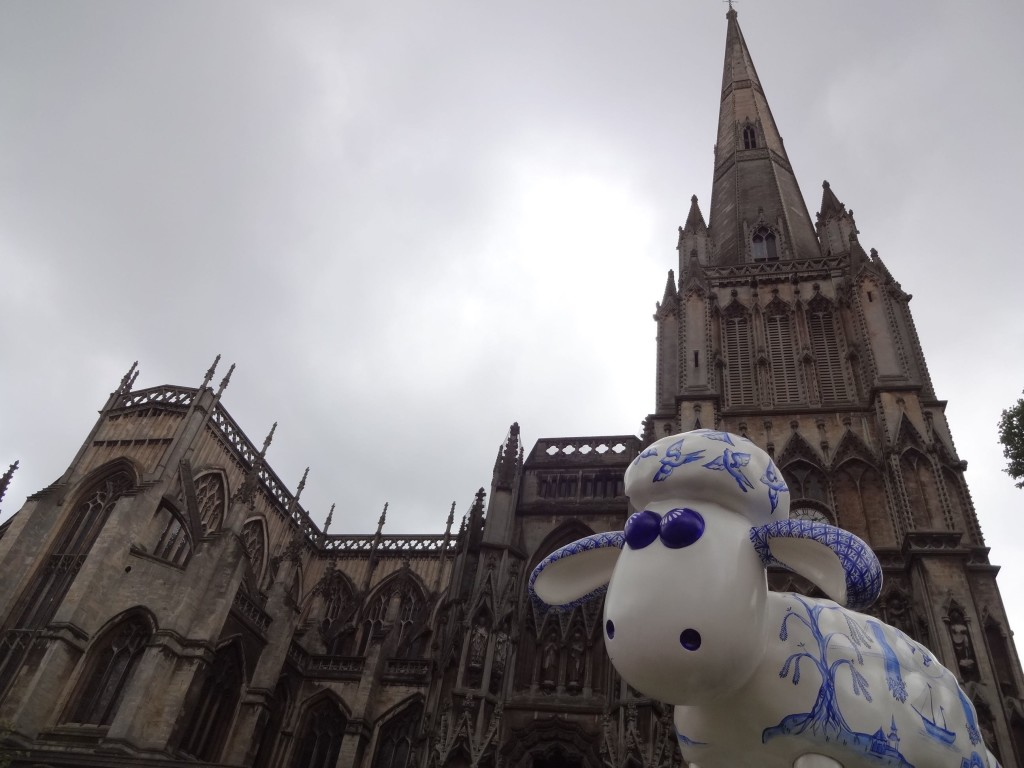 Bristol Shaun in the City, Temple trail, Willow, Rhiannon Southwell, Bailey of Bristol, St Mary Redcliffe Church, face with church