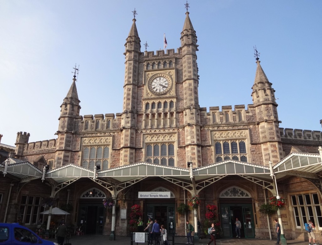Arrival into Bristol: the original nineteenth century Bristol Temple Meads Station front, designed by Brunel to deliberately mirror the design of the original London Paddington Station where the first cross-country trains from Temple Meads terminated