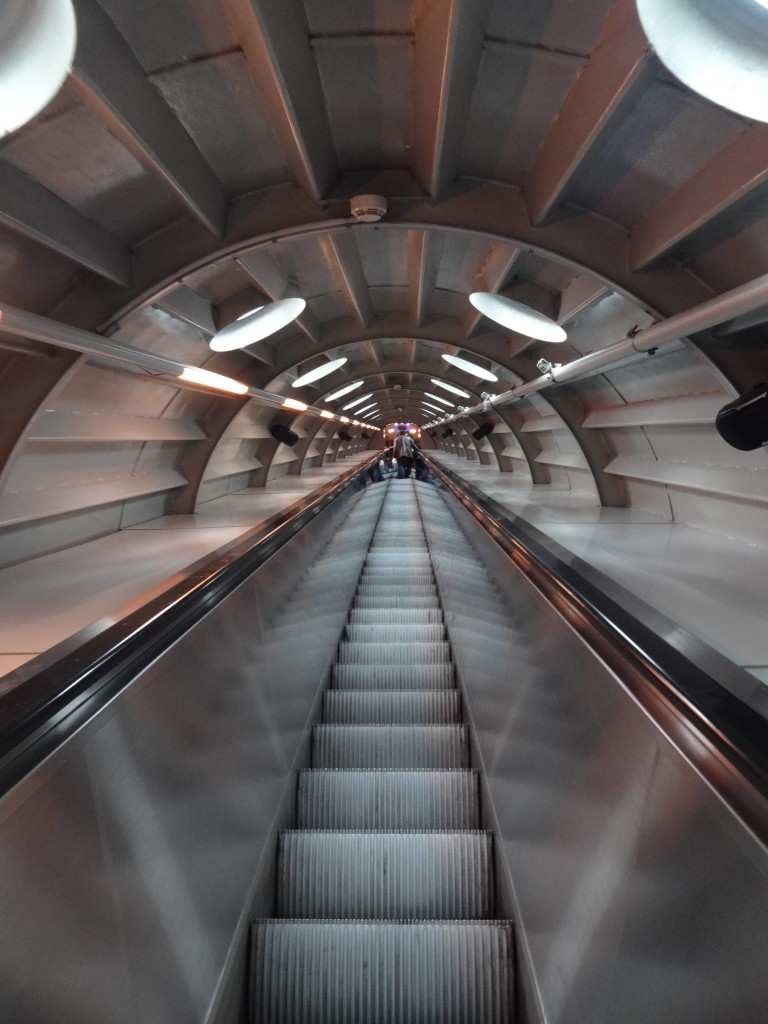 Music by Pink Floyd was played through the speakers along this escalator. Being the day of the solar eclipse, it was a shame that their track 'Eclipse' wasn't used to mark the occasion