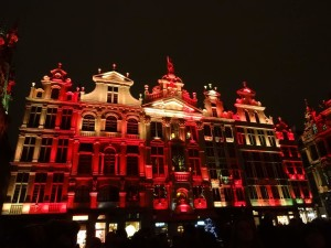 Brussels Christmas 2014 Grand Place guildhalls red and gold