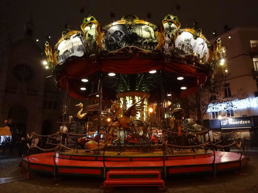 The weirdly beautiful Manège d'Andrea in Place Sainte Catherine during Christmas