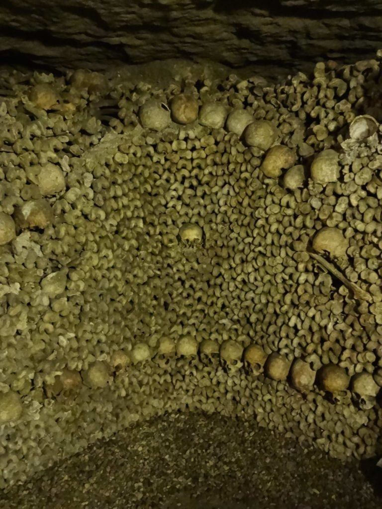 In many places, the skulls have been arranged into symmetrical patterns