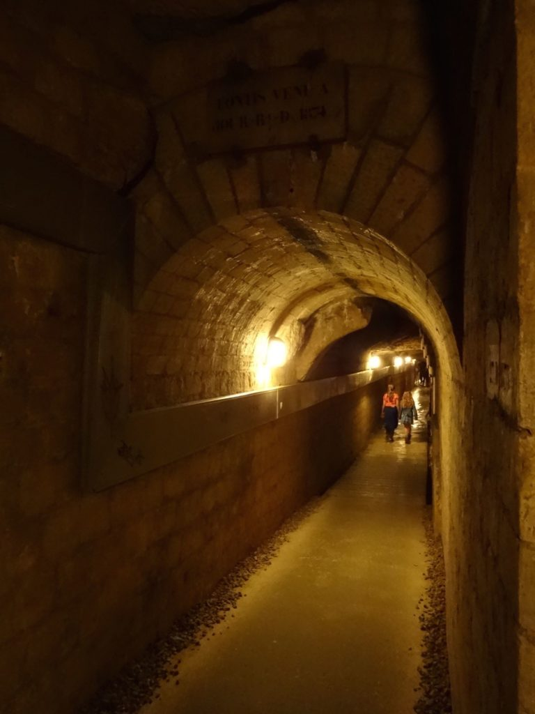 There are many miles of underground tunnels connected to the catacombs. Visitors are guided along a short section of them to reach the ossuaries presently open to the public