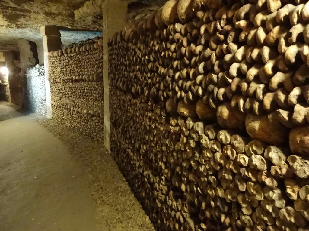 A few centuries later the stone walls were replaced with 'skull and bone' walls
