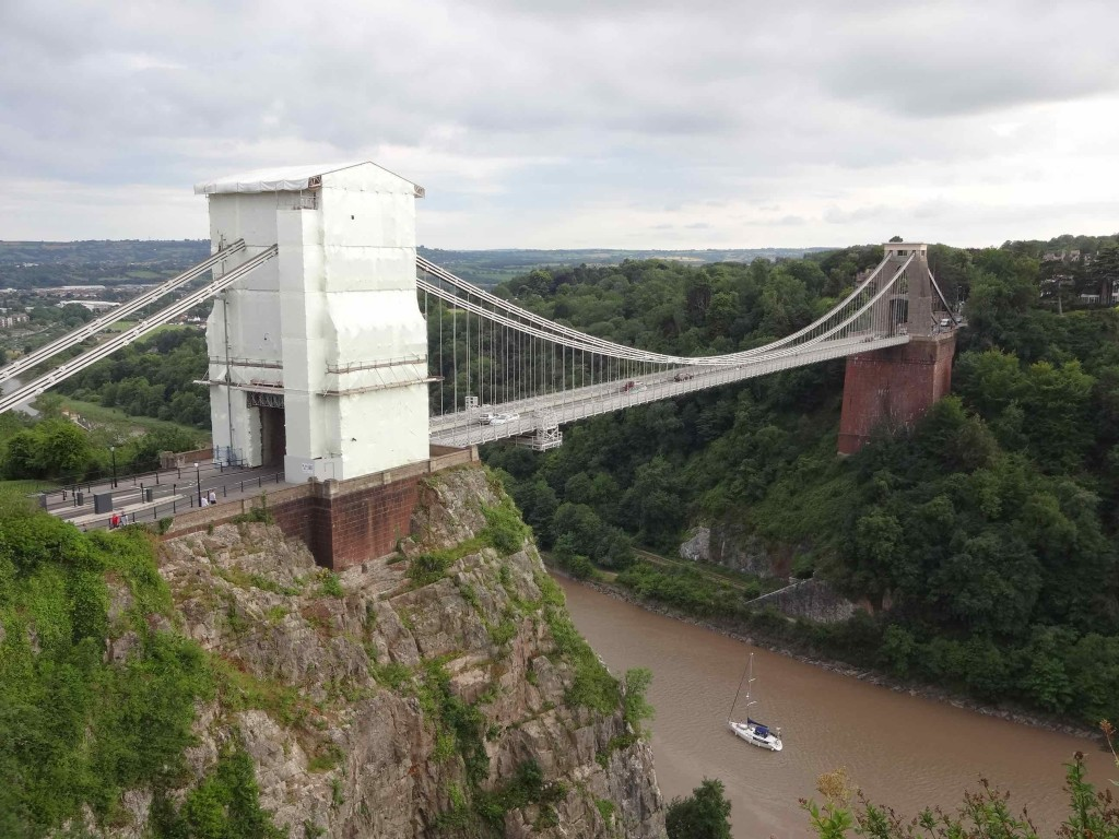 Even with one of the towers covered under white tarpaulin for maintenance work, the Clifton Suspension Bridge is still a stunning sight