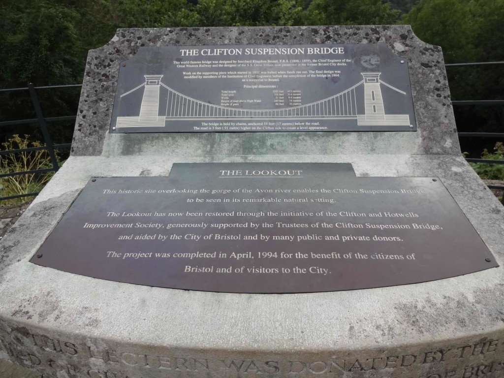 Clifton Suspension Bridge vital facts and figures (click on this photo to make it bigger and easier to read)
