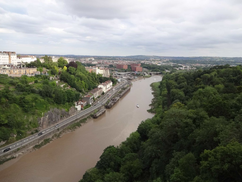 The view across the Avon and Bristol beyond from the bridge