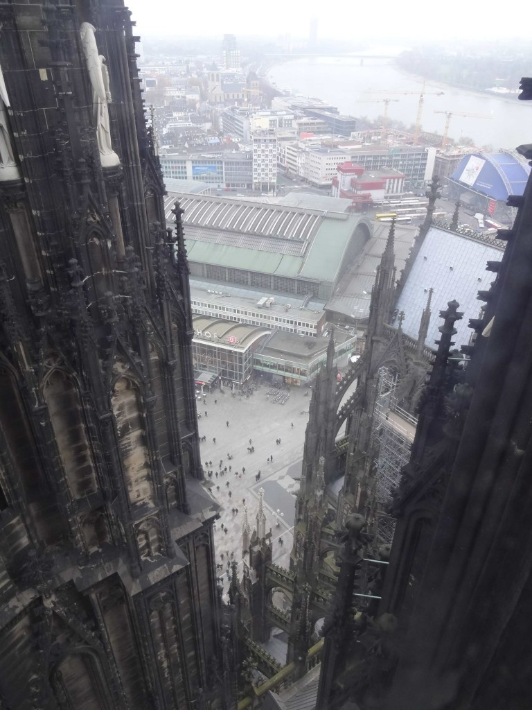 Looking down from the Dom's south tower at Cologne's main train station Hauptbahnhof approximately 70 metres below