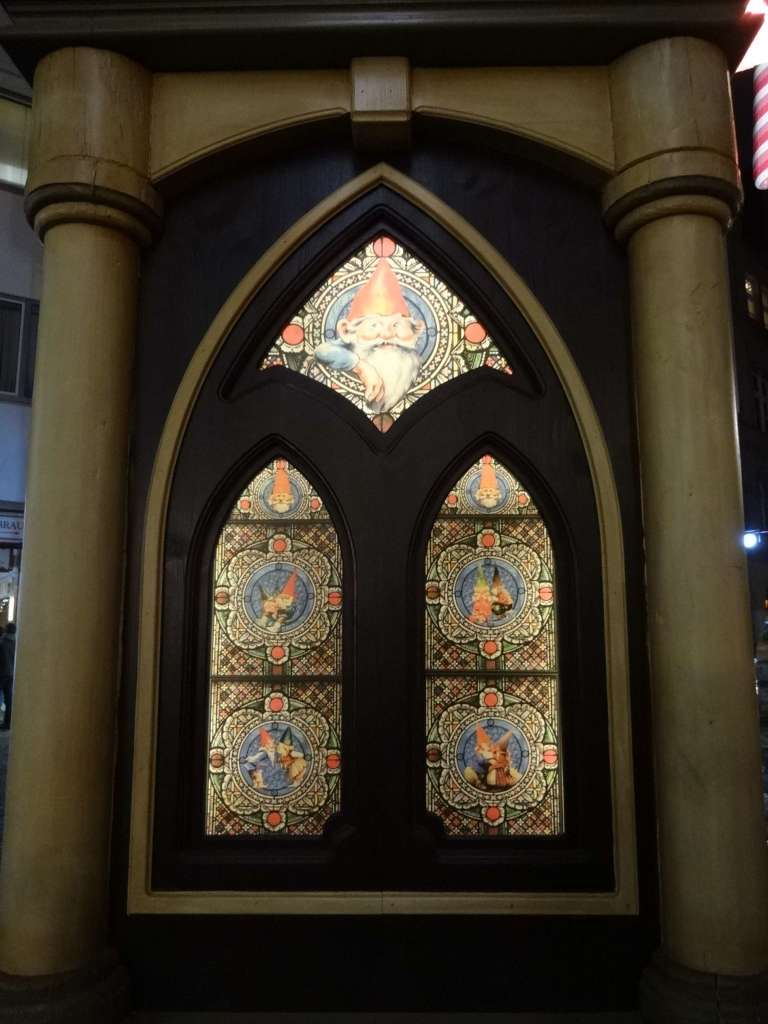 Germans are known for their attention to detail and the organisers of this market clearly lived up to that generalisation. Even the entrance posts into the market were panelled with these elf-themed stained-glass windows made especially for the market