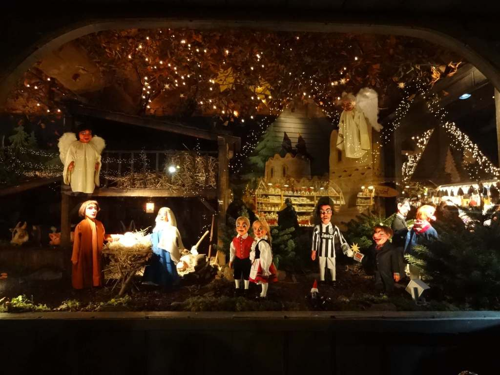 The delightfully unusual Hänneschen-Theater's nativity scene at the Market of Angels with a few extra characters