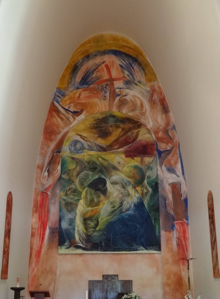 A painting over the altar of the Chapel of Nossa Senhora da Paz found at the entrance to the monument