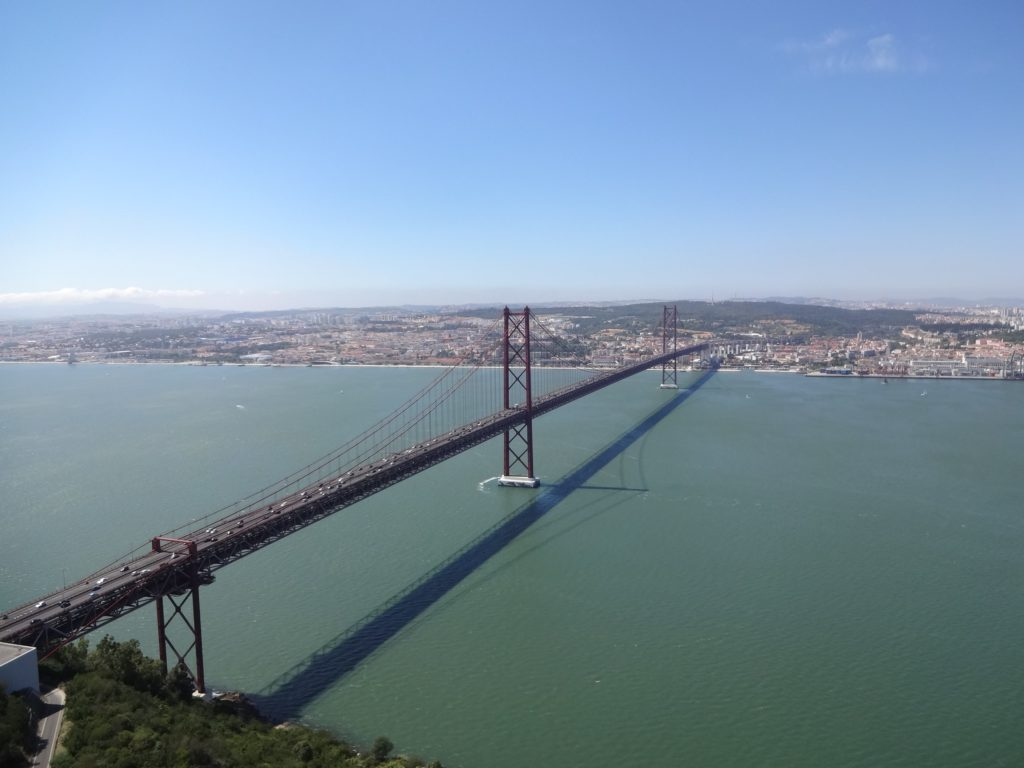 The view of Ponte 25 de Abril from the viewing platform of Cristo Rei