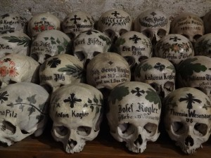 Just over half the skulls in Hallstatt's Beinhaus (around 600) have been decorated, named and dated, a tradition that began in the eighteenth century