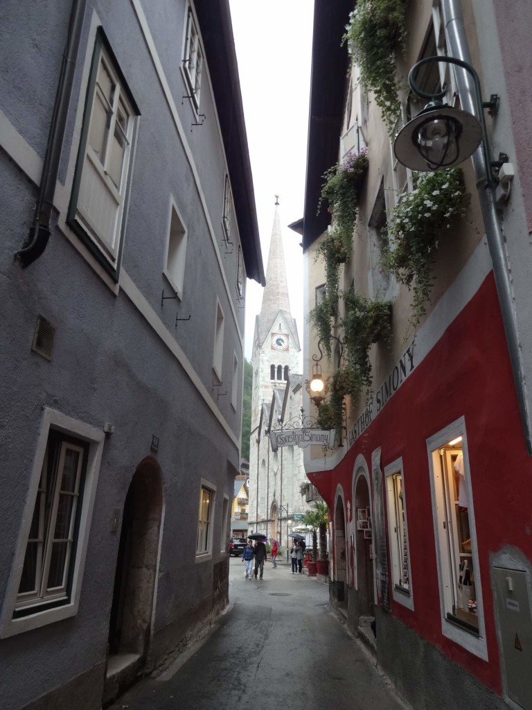 Squishing it all in: one of the narrow streets of old Hallstatt village