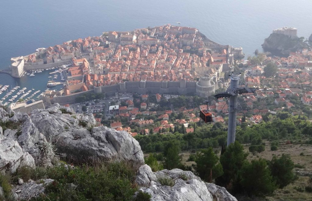 Dubrovnik's Old Town seen from the top of Mount Srd