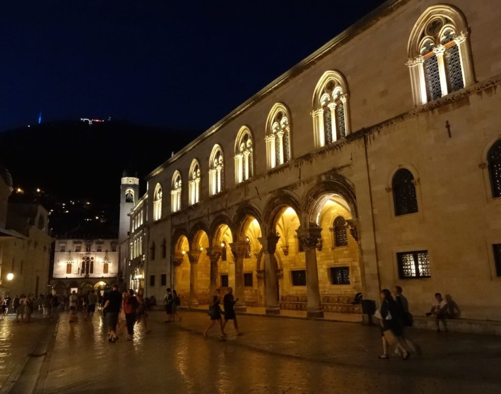 Dubrovnik, Homeland War Museum, fort seen at night from Rector's Palace
