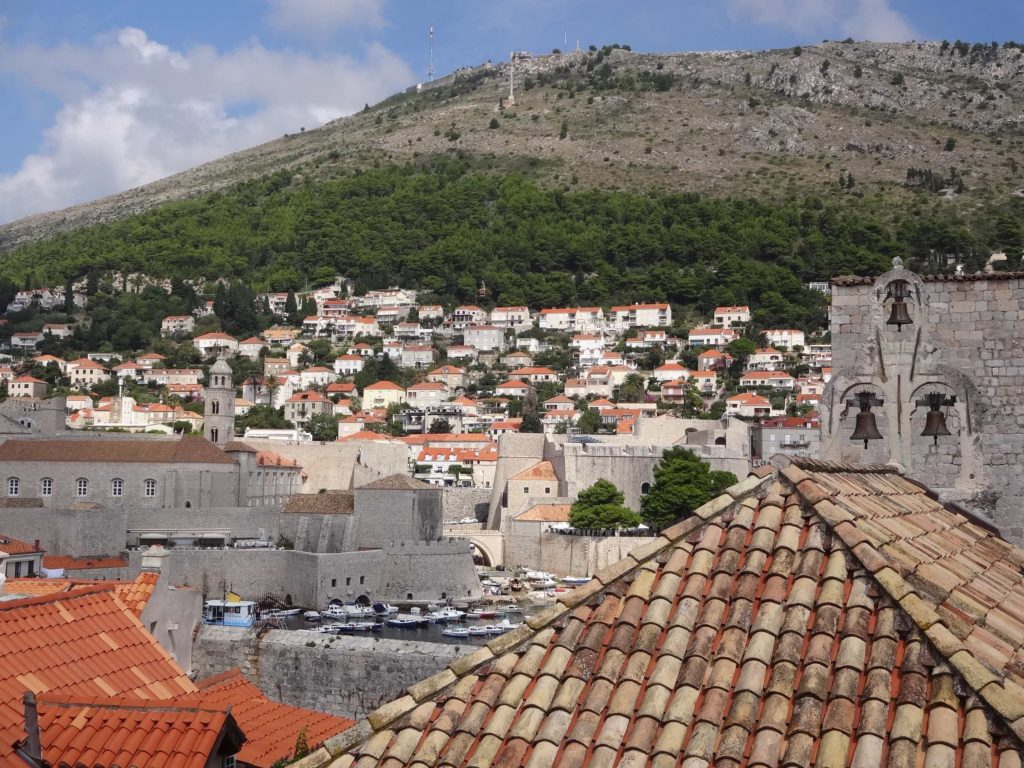 Mount Srd overlooking Dubrovnik with Fort Imperial at the top of it, the front line in the Homeland War siege of the city in the early 1990s