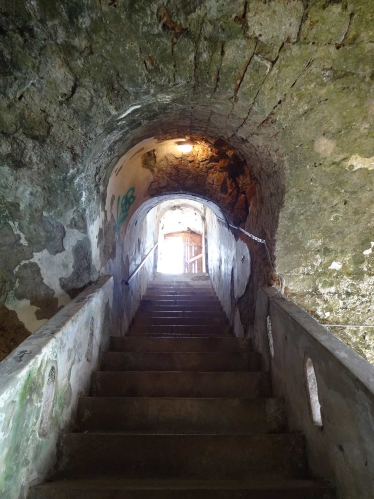 Leading up to the roof of the fort