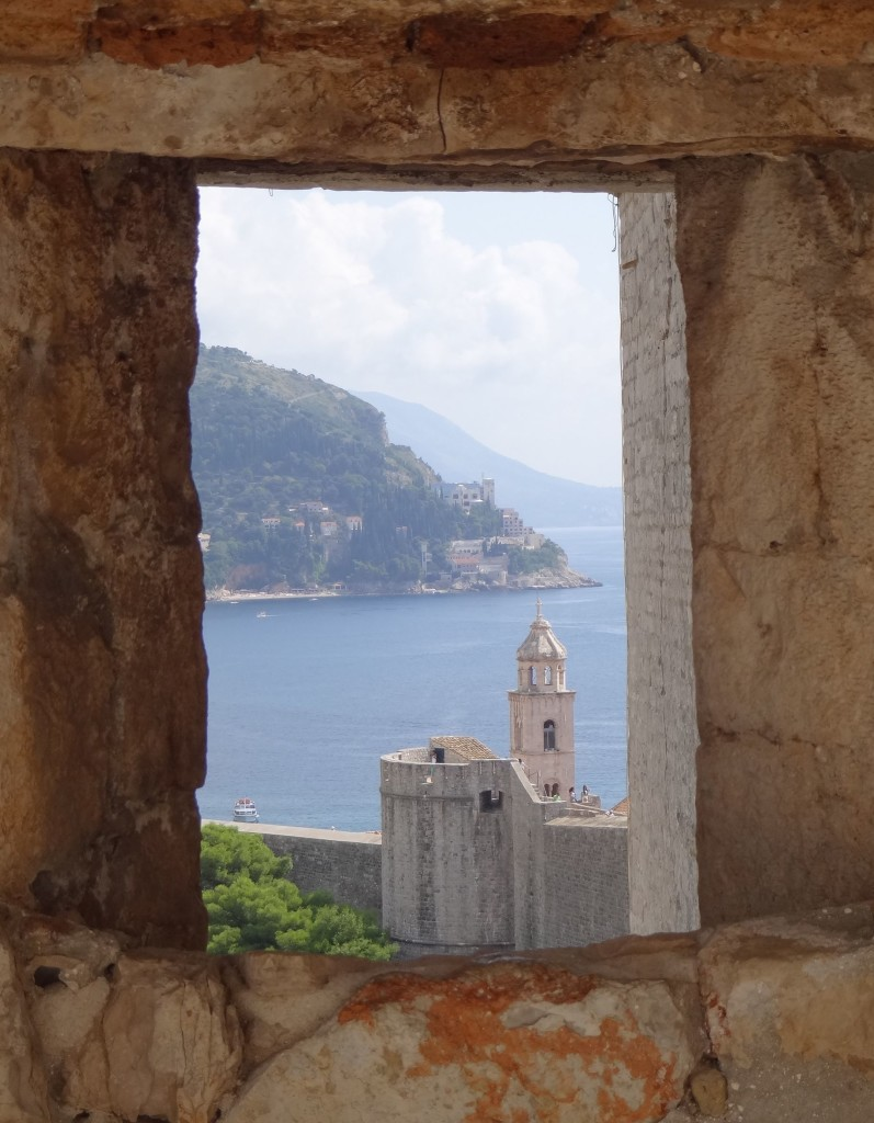 Dubrovnik Old City Walls Fort Minceta arrowslit view of Dominican Monastery bell tower