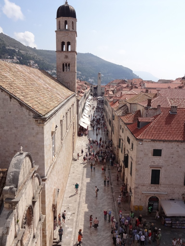 The first great viewpoint along the top of the Old City Walls via Pile Gate: the Placa (Stradun), the Old Town's main street ...