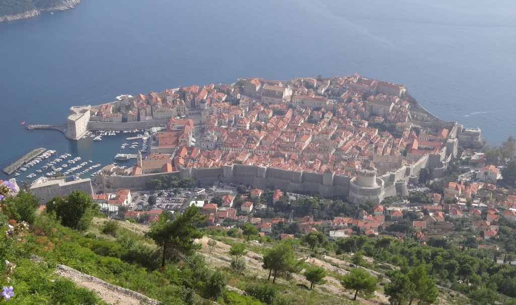 Dubrovnik's Old Town and City Walls seen from the top of Mount Srd