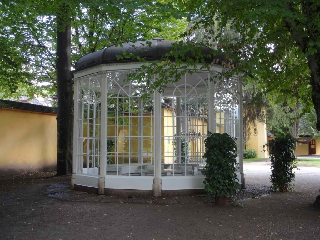 The pavilion from the film in which lovely Liesl falls in love with the treacherous Rolf can now be found in the grounds of Schloss Hellbrunn