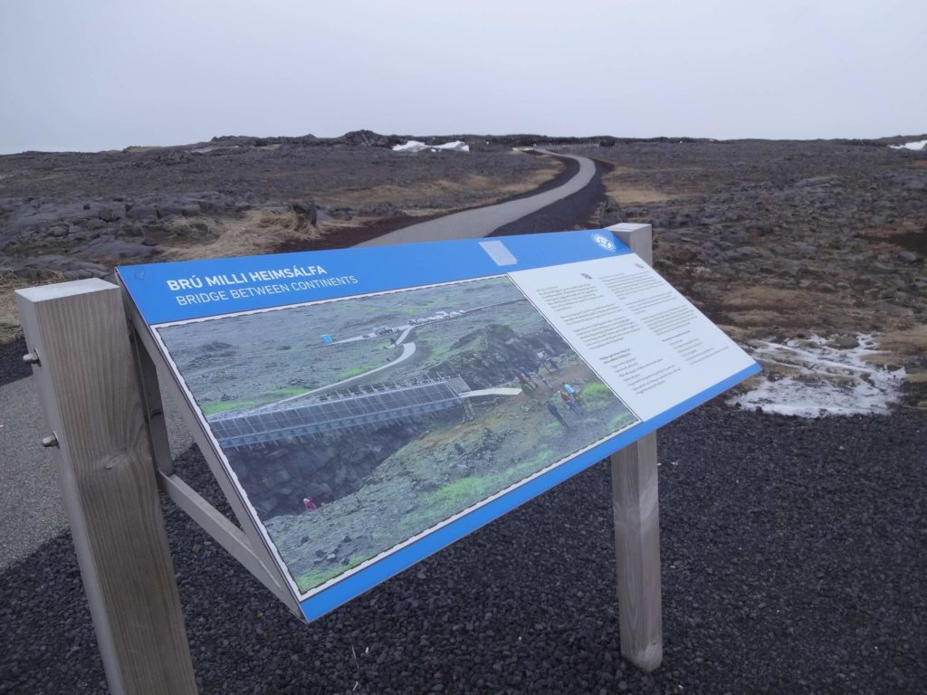 A welcome and rare sight in rural Iceland: a sign confirming where we were. The entry sign for the 'Bridge Between Continents' in the nearby car park