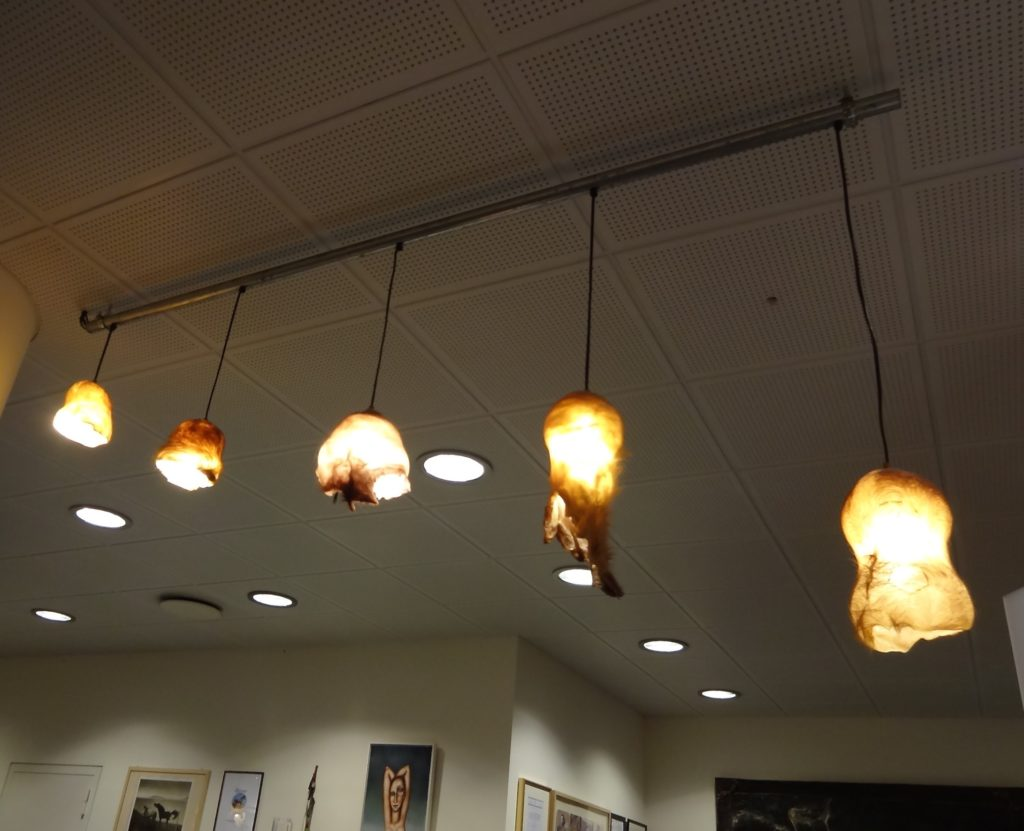 What better use of dead foreskins and scrotal sacs than to turn them into lamp shades?