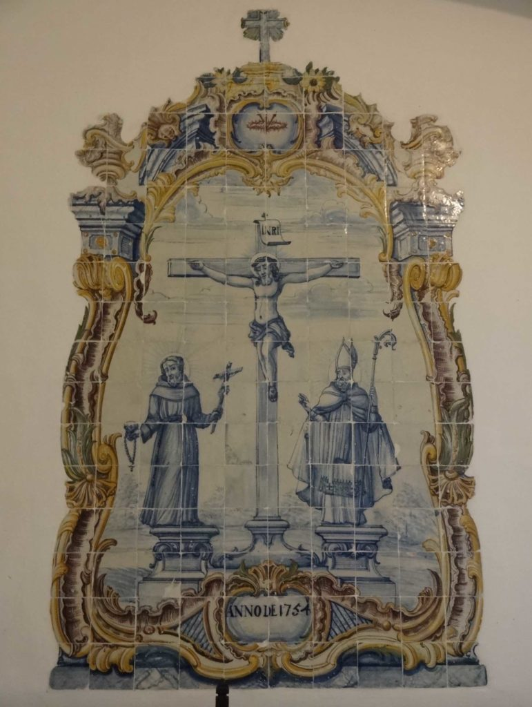 In the sacristy are further and older examples of azulejos, the oldest fragment being this one
