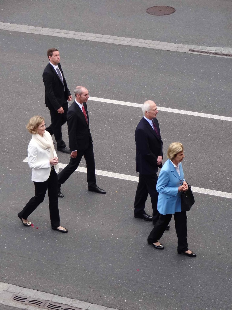 His Serene Highness Hans-Adam II, Prince of Liechtenstein (centre-right), his wife HSH Princess Marie (right wearing blue), his daughter HSH Princess Tatjana of Liechtenstein, her husband Philipp von Lattorff (wearing a red tie) and a bodyguard looking at me with suspicion