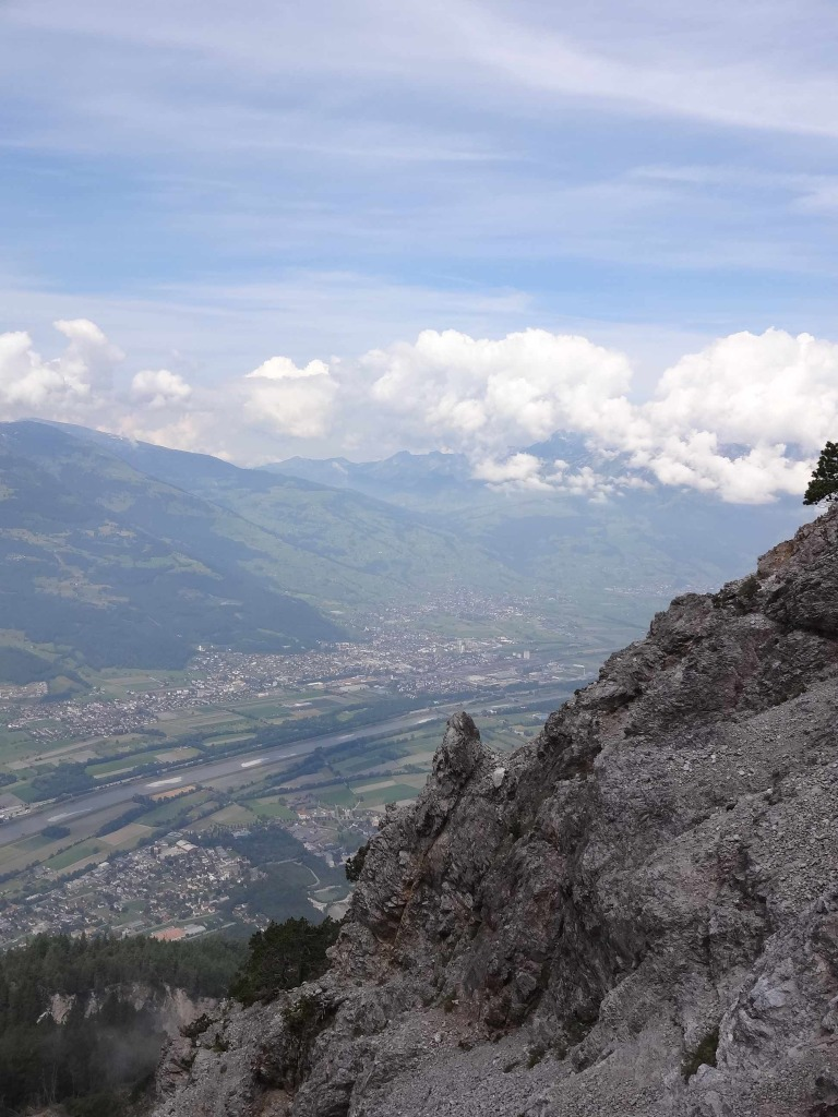 North of Vaduz below with the Swiss town of Buchs over on the far side of the Rhine below