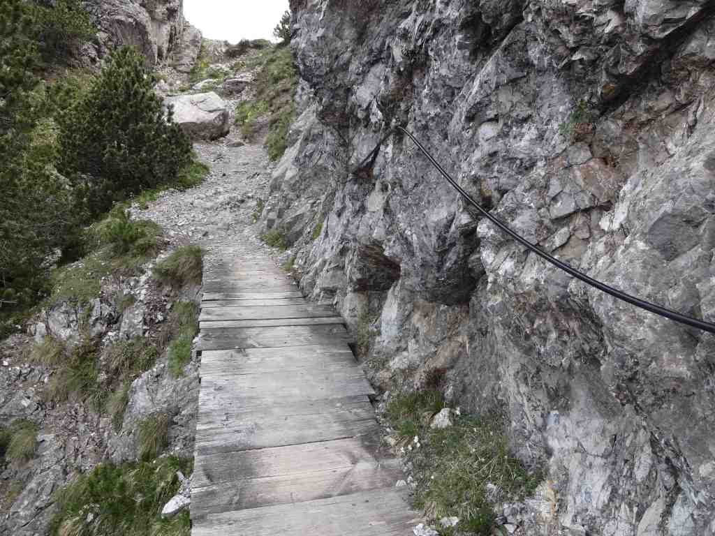 ... ropes and handrails added to assist along the way