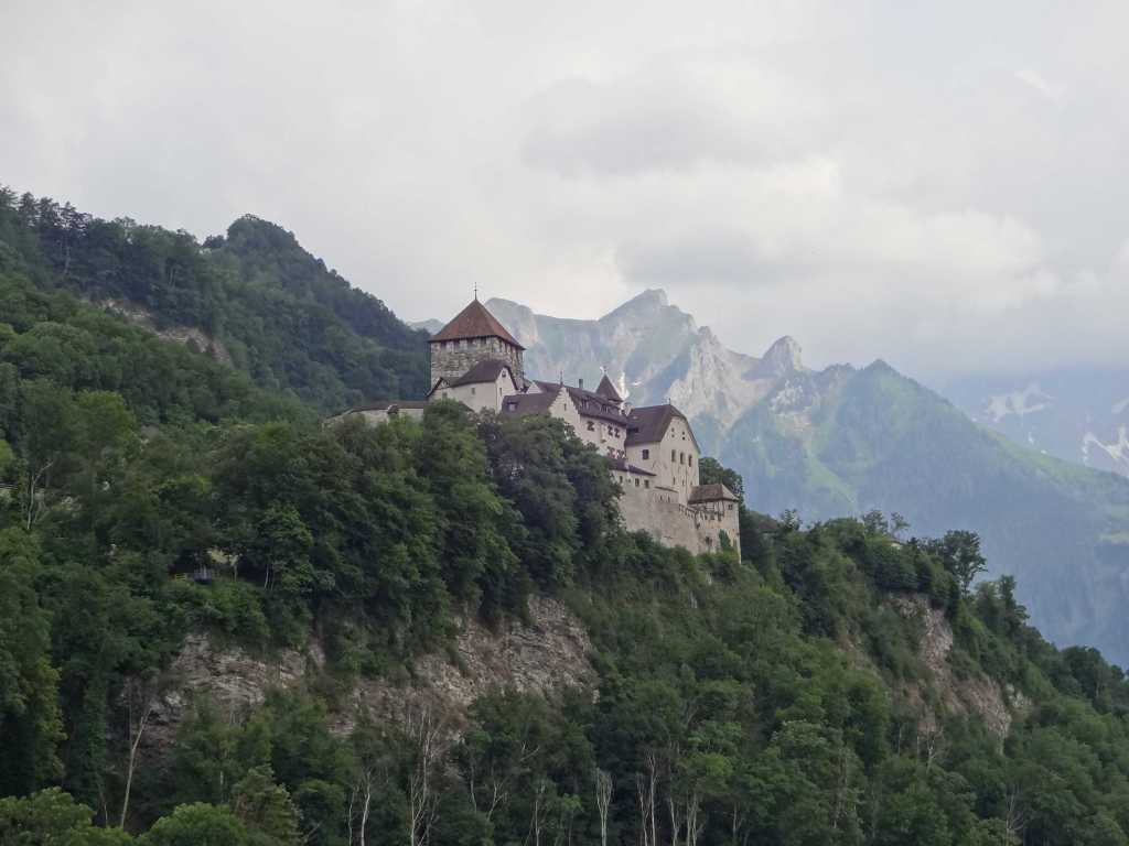 The real Vaduz Castle watching over the city and looking like a James Bond villain's lair