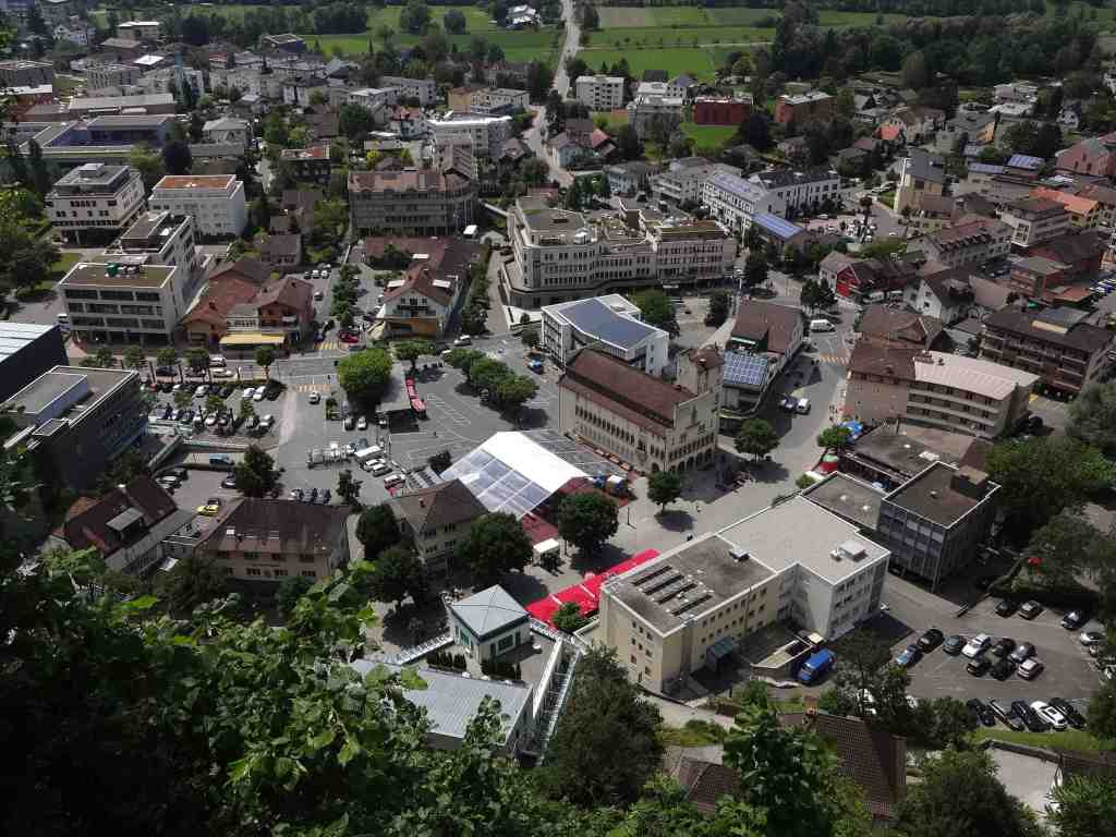 Vaduz from above. Plenty of buildings (mainly banks housing money from foreigners seeking a tax haven for their fortunes), but not many people