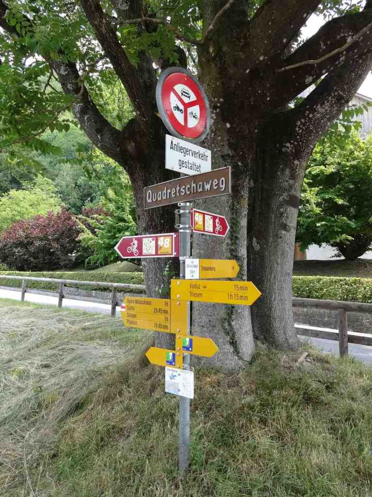 Trail signs in Liechtenstein indicate how long it takes to get to each destination rather than how far. At the pace I was going, I needed to add at least another 30 minutes to each length of time