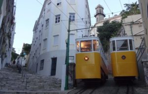 Lisbon funiculars parked up at night - do Lavra (1)