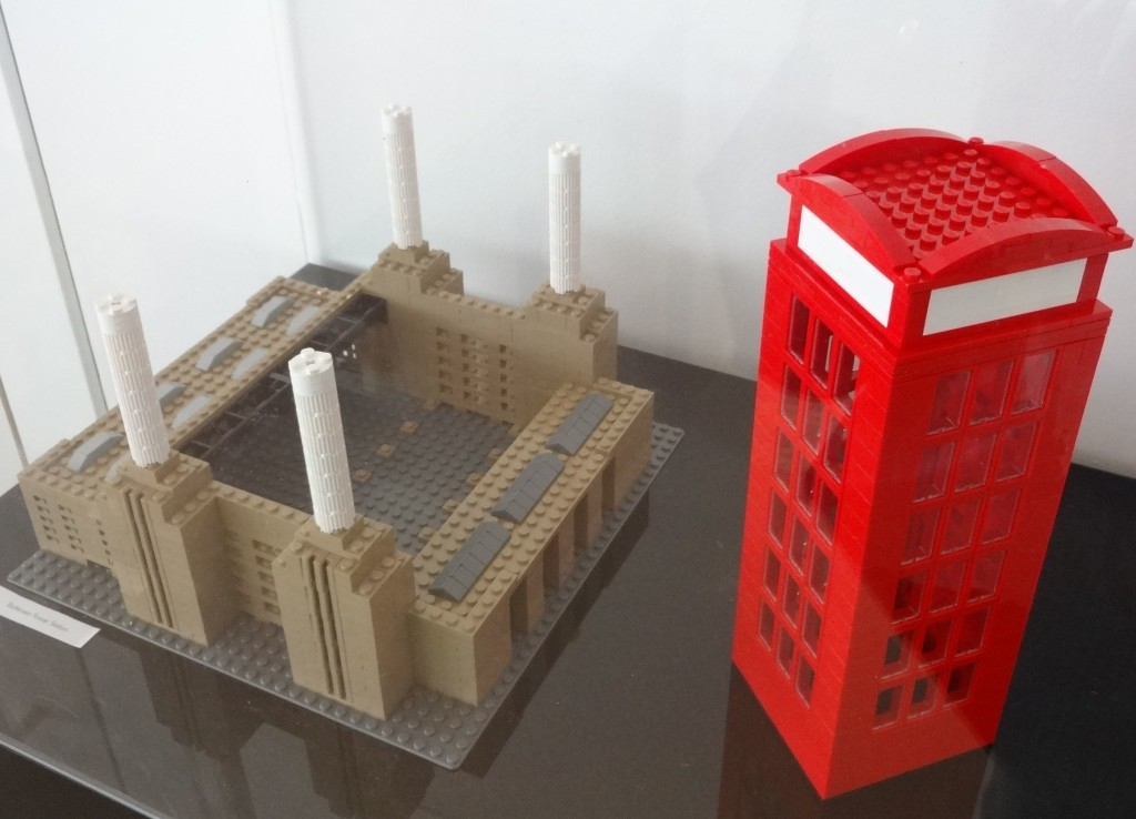 Battersea Power Station (how it once looked) and a red telephone box, again not quite to the same scale